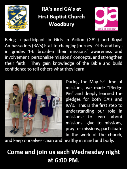 Information and invitation to attend RA's and GA's at First baptist Church Woodbury.